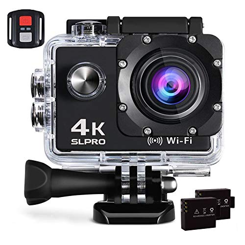 SLPRO Action Cam 4K 16MP WiFi Camera Ultra Full HD Action Cam WiFi Kamera Unterwasser Kamera Ultra HD Sport Camera Helmkamera Wasserdicht mit 2 Stück 1050 mAh Batterien