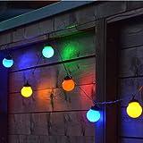 Bunte LED Party-Lichterkette 9,5m Mit 20 Kugeln Für Außen Geburtstagsdeko Hochzeit