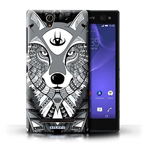 Coque en plastique pour Sony Xperia C3 Collection Motif Animaux Aztec - Loup-Couleur Loup-Mono