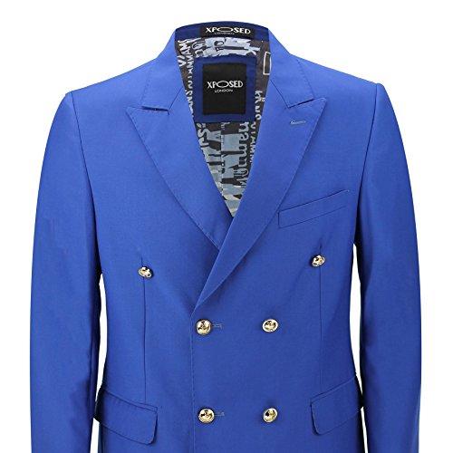 Giacca doppio petto, classica, bottoni dorati, stile vintage, da uomo–4colori Royal Blue