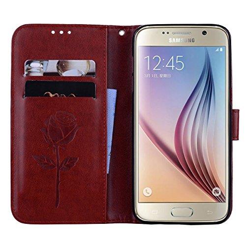 Coque Samsung S6 Anfire Fleur Motif Peint Mode Coque PU Cuir pour Galaxy S6 Etui Case Protection Portefeuille Rabat Étui Coque Housse pour Samsung Galaxy S6 SM-G920F (5.1 pouces) Luxe Style Livre Poch Brun