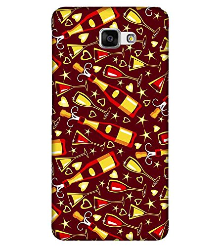 For Samsung Galaxy A9 Pro wine bottle ( wine bottle, bottle, heart, star, brown background ) Printed Designer Back Case Cover By FashionCops  available at amazon for Rs.475
