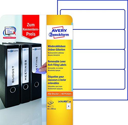 Avery Zweckform L4761REV-10 Ordneretiketten (A4, Ordnerrücken, Papier matt, 40 Stück, 61 x 192 mm) 10 Blatt weiß