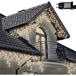 Eiszapfen Lichterketten 500 LED lichterkette außen, Warm Weiße Baum Lichter, Länge 17,5m, GS Geprüft, Optional mit 8 Leuchtmodi/Memory/ Timer, Klare Kabel - 2 Jahre Garantie