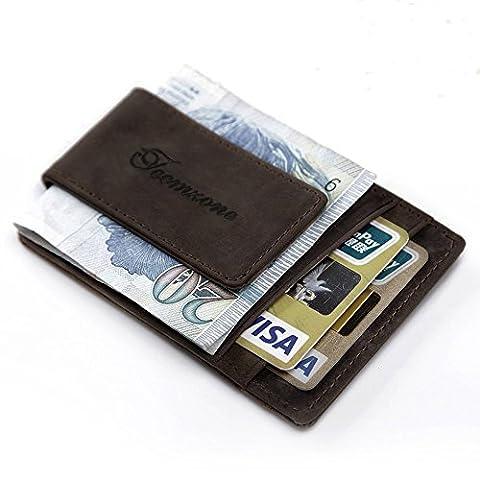 Teemzone RFID Blocage Pinces à billets Porte-Monnaie Homme Cuir véritable