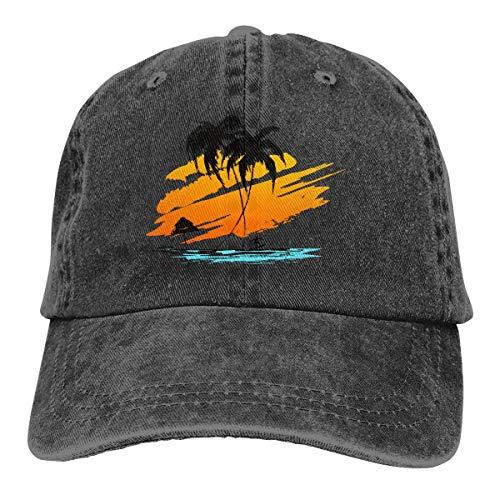 Hoswee Unisex Kappe/Baseballkappe, Silhouette of Palm and Surfer Men/Women Washed Adjustable Baseball Cap Jeans Back Closure Fish Hat