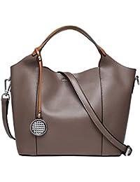 4b8c61eaf1c8 Oangel Women s Elegant Genuine Leather Shoulder Tote Bag Handbag Purse