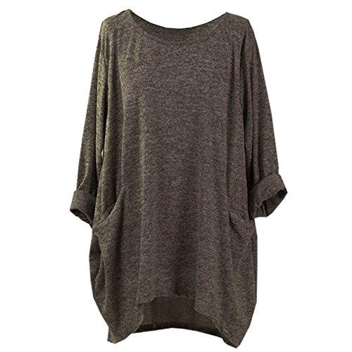 Clearance Innerternet Women Long Sleeve O Neck Pocket T Shirts Loose Casual Blouses Plus Size Long sleeve Blouse Easy Top Tunic Shirt