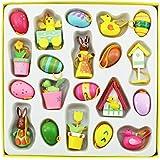 COM-FOUR® Deko- & Geschenk-Set für Ostern 20 Deko-Anhänger aus Holz mit verschiedenen Oster-Motiven für den Osterstrauch
