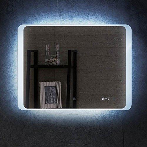 Badspiegel mit LED Beleuchtung Uhr Spiegel 70x50cm Wandspiegel Lichtspiegel Bad