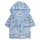 BABY TOWN Newborn Baby Boys Dressing Gown - Blue Car Flannel Fleece Hooded Bathrobe