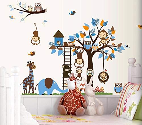 Eulen-Affen-Baum-Eichhörnchen Kinderzimmer Kindergarten Heißer Wandaufkleber Kann entfernt werden -