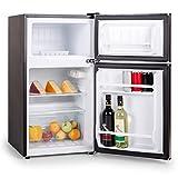 Klarstein Big Daddy Cool kleiner Standkühlschrank 80 Liter Edelstahl Kühlschrank mit Gefrierfach (Klasse A+, 39 dB, 2 Tür-Fächer, Gemüsefach, Edelstahl) silber -