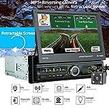 TENLSO [7066G] Autoradio GPS Tactile Rétractable 1 DIN, 7' Ecran LCD, Navigation de Voiture BT, Caméra de...