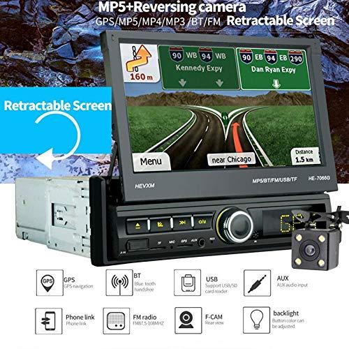 """TENLSO [7066G] Autoradio GPS Tactile Rétractable 1 DIN, 7"""" Ecran LCD, Navigation de Voiture BT, Caméra de Recul/MP5/TF/USB/AUX/FM/Connexion avec Les Smartphones/Main Libre/Vidéo FHD"""