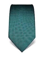 Idea Regalo - Vincenzo Boretti cravatta elegante classica da uomo, 8 cm x 15 cm, di pura seta di alta qualità, idrorepellente e antisporco, a pois smeraldo