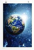 Eau Zone Home Bild - Fotocollage – Planet Erde im All- Poster Fotodruck in höchster Qualität