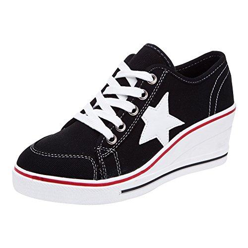 PADGENE Baskets Mode Compensées Sneakers Tennis Chaussures Casuel Toile Femme (Noir,37)