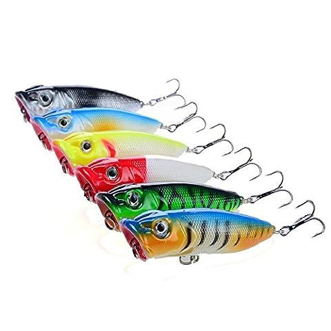 A-szcxtop 6pcs Top Eau flottant Popper dur Leurres de pêche Appât Bass Crankbait Surface d'eau Leurres de pêche 11g 6.5cm