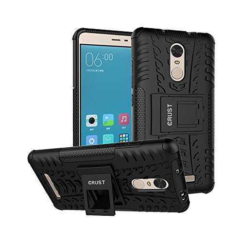 Redmi Note 3 Cover, CRUST™ Impact Case For Xiaomi Redmi Note 3, Redmi Note 3 Prime, Redmi Note 3 Pro Shock Proof High Impact Armor Kick Stand Dual Layer Hard/Soft Back Cover (Black) - Retail Packaging