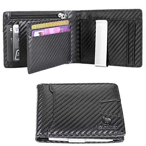 BAGLOBAL Geldbeutel männer aus echt Leder mit 12 Kartenfächern und RFID-Schutz, schlanke Geldbörse Herren (Kohlefaser)