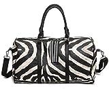 ZHANGOR PU Reisetasche Weekend Handtasche Im Freien Große Kapazität Zebra Streifen Muster Schultertasche Umhängetasche Casual (Männer und Frauen), S