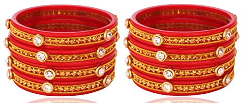 8 Color Fashionable & Glossy Bangle Set With Unique Design Pattern Studded with Bright Button Zircon for Girls & Women on Wedding & Festive Occasions