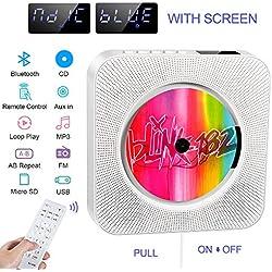 Lecteur de CD Portable, Haut-Parleur HiFi intégré, Lecteur de Musique MP3 Bluetooth avec Fixation Murale au Mur avec Audio Maison, Prise Jack AUX 3,5 mm, télécommande, Cadeau pour la Famille. (White)