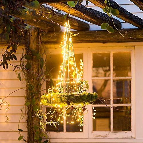 Eiseyen - catena di 100 luci a led a energia solare, 10 m, luce bianca calda, impermeabile, per giardino, terrazza, balcone, matrimonio, festa di natale, 2 pezzi
