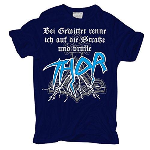 Männer und Herren T-Shirt Bei Gewitter brülle ich THOR körperbetont dunkelblau