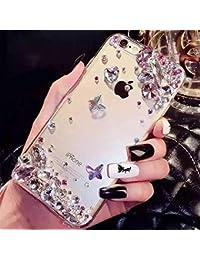 Cestor Glitter Case pour Samsung Galaxy S8,Luxe 3D Fait Main Bling Diamond Gemstone Brillante Jeweled Flower Papillon Modèle Protection Housse Slim Fit Transparent Dur PC Back Cover pour Samsung Galaxy S8