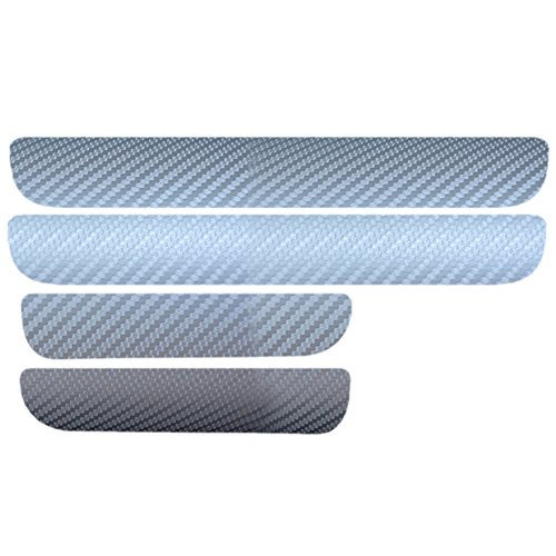 Universal Einstiegsleisten (Set!) Schutzfolie Kohlefaser mit hellen Aufklebern Silber -