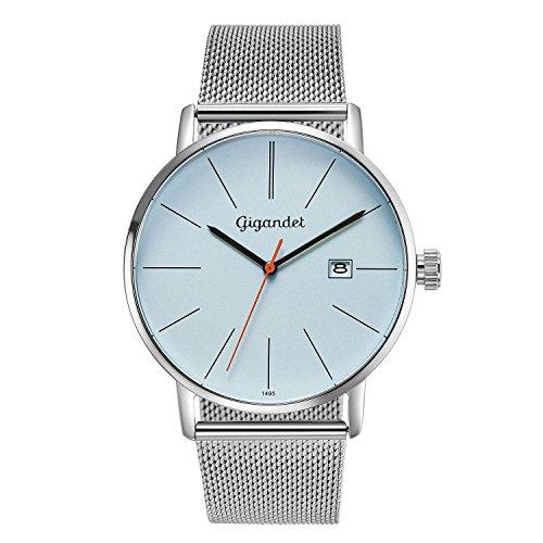 Gigandet Reloj Hombre Cuarzo Minimalism Analógico Correa de Acero Plata Azul G42-013