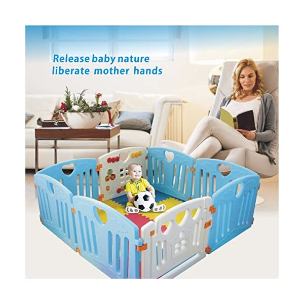 Baby Playpen Kids Activity Centre Safety Play Yard Home Indoor Outdoor New Pen (Multicolour, Classic Set 14 Panel) (Blue 8 Panel) Gupamiga MOM'S LIFESAVER: Keep baby safe in there play centre when mom/dad needs to cook, clean up, go to the bathroom, etc. STURDY HOLDING: Specially designed rubber feet underneath of the yard so the parts don't go sliding around. COVERS A LARGE AREA: It is a great amount of space for baby to learn walk and even laying with baby in it for play time. 2