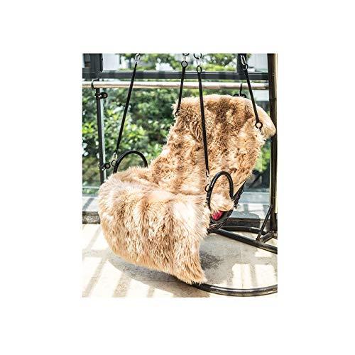 Faux Lammfell Schaffell Teppich 80 x 150 cm Nachahmung Wolle Wohnzimmer Teppiche Lange Fell Flauschig Weiche Schaffell Bettvorleger Matte (Braun)