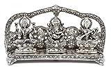 Oxidized White Silver Metal Laxmi Ganesh Saraswati Idol Handmade Handicraft For Home Decor Gift Item