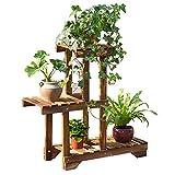 Soportes ZHANGRONG- (55 * 66cm) Estante de flor de varios pisos del estante de la flor del balcón de la parrilla del carbón de madera maciza -Bastidores de macetas de madera