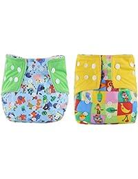 WeiterVor Pack de 2 Pañal Bañador Reutilizable Para Bebé impermeable