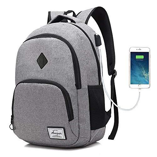 AUGUR Laptop College Rucksack Wasserdicht Leichte Minimalism mit USB-Ladeanschluss Business School-Buch-Tasche Reisen Wandern Camping Outdoor-Daypack Rucksack Passend für 15-Zoll-Notebook (Grau)