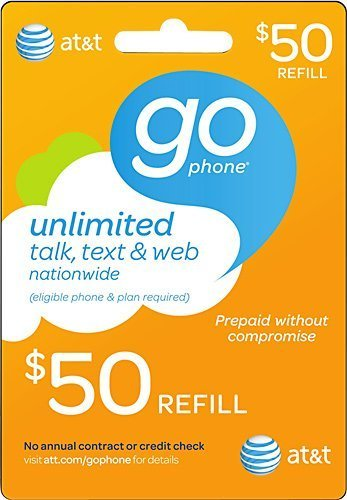 AT&T $50 Prepaid GoPhone Refill Card (Mail delivery) by AT&T (Att Go Phone)