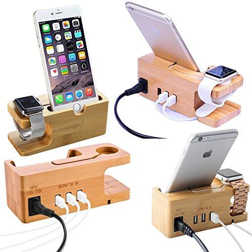 Apple Watch & iPhone Ständer, YooGoal Bambus Holz USB Ladestation Dock mit 3 USB-Ports 3.0 Hub für iPhone 8/8 Plus / 7 / 7Plus / 6s / 6 / Plus / 5s, iWatch 38mm / 42mm, für Samsung und die meisten Smartphones