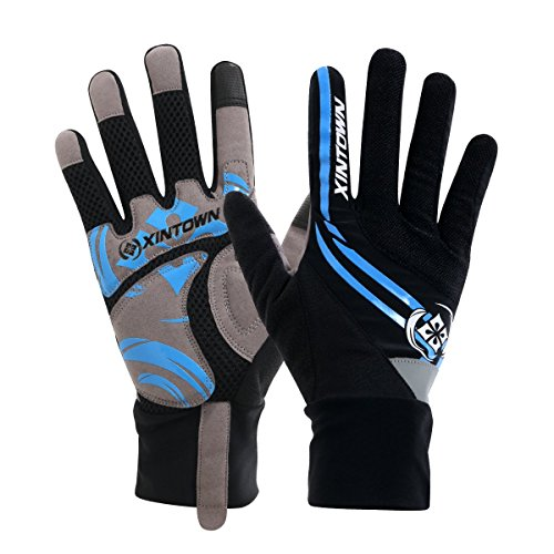XINTOWN Otoño y Invierno Ciclismo Pro-Biker–Guantes con 4Color 3Tamaño, color azul, tamaño large