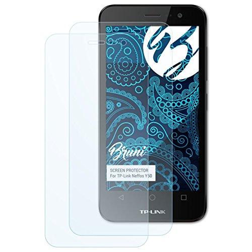 Bruni Schutzfolie für TP-Link Neffos Y50 Folie, glasklare Bildschirmschutzfolie (2X)