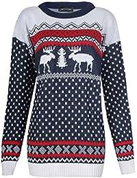 Fast Fashion Unisex Pullover Langarm Zwillings Rentier Schneeflocke Weihnachts