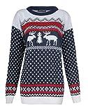 Fast Fashion Herren Pullover Langarm Zwillings Rentier Schneeflocke Weihnachts