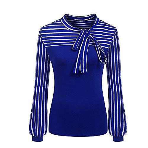 Shengdasm Frauen Top Tie Bow Neck Lattern Streifen Top Patchwork Langarm Shirt (Color : Blau, Größe : M) - Blaue Streifen-blues Shirt