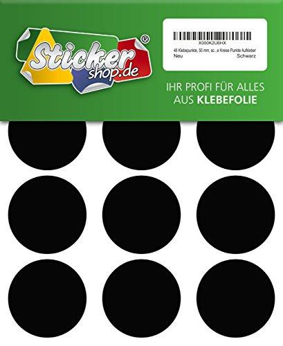 48adhesivos, 50mm, Negro, Funda de PVC, resistente a la intemperie, LabelOcean círculos puntos Pegatinas