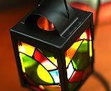 huavin palmatoria decorativa lámpara de queroseno arte de hierro vitral