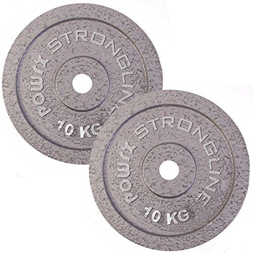 POWRX Hantelscheiben Set | verschiedene Gewichtsvarianten 5-40 kg | Gusseisen Gewichte | 30 mm Bohrung (2 x 10 kg) Eisen-hanteln