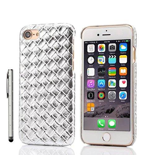 iPhone 7 Coque Case, Fine Poids léger Dur Plastique Housse de Protection 3D Tricoté Forme Seire pour Apple iPhone 7 4.7 inch X 1 stylet ( Noir ) argent